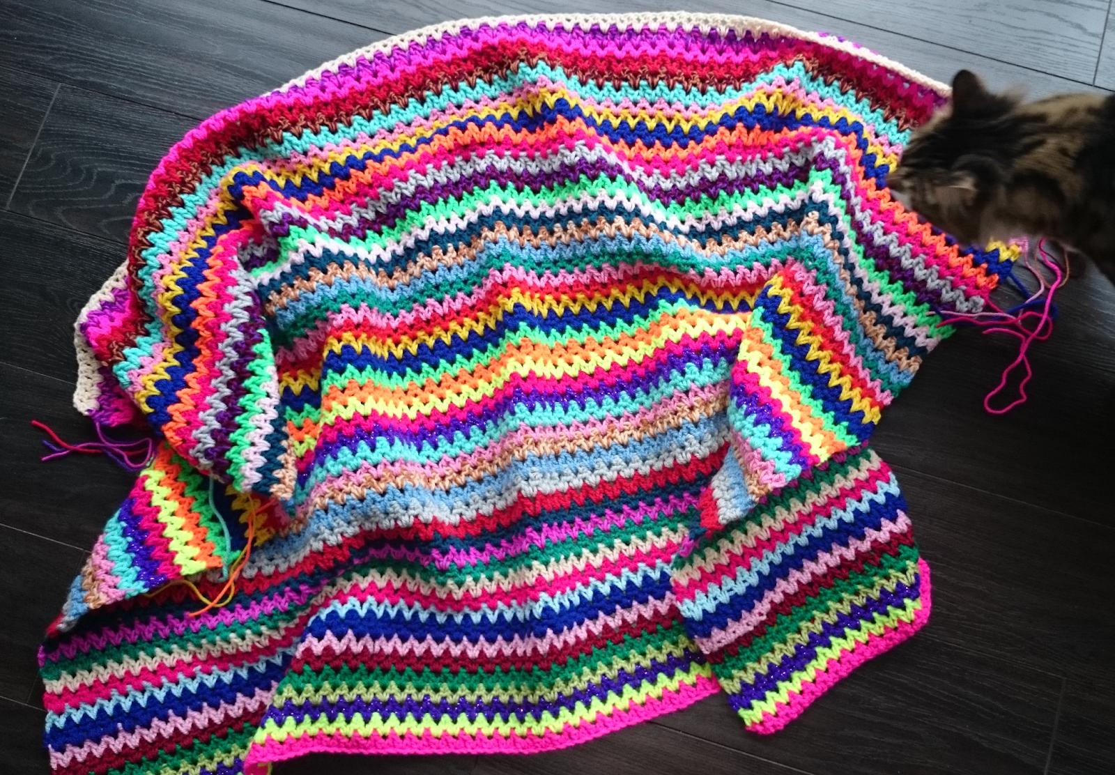 v stitch vstitch crochet blanket update crocheting cat photo bomb