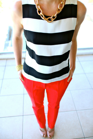 black and white shirt with a pop of color outfit