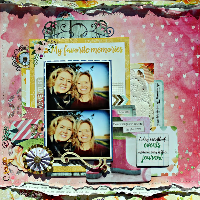 Dance in the Rain Scrapbook Page featuring Calendar Girl Collection by BoBunny designed by Rhonda Van Ginkel