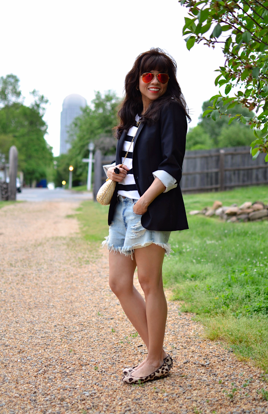 Denim shorts with blazer