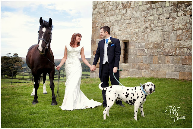 pets at weddings, katie byram photography, danby castle, dalmatian, horse at wedding, dog wedding