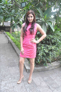 Pooja Chopra Pictures in Pink Short Dress at Reliance Office