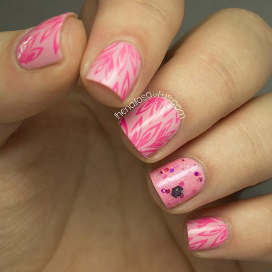 Bubble Gum Nail Art: Bubblegum Pink Stamping - The Nailasaurus