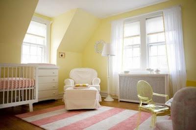 cuarto de bebé rosa amarillo