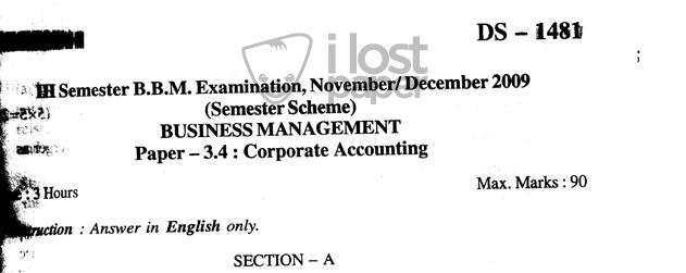 corporate accounting pdf calicut university