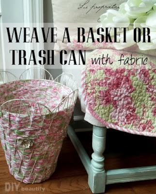 Make this fabulous woven trash can using fabric strips! No glue! No scissors! Just two items. Get the tutorial at DIY beautify!