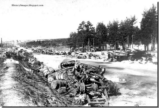 Destroyed German war material strewn on the side of the Vitebsk highway