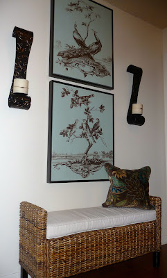 seagrass bench with Avian Toile Canvas Artwork