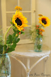 Sunflowers and Blue Mason Jars