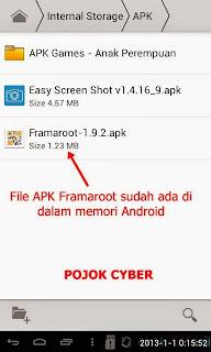 File APK Framaroot diletakkan di dalam tablet