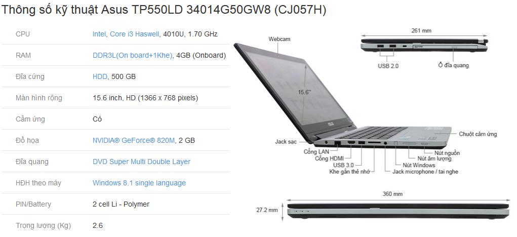 Thông số kỹ thuật Asus TP550LD 34014G50GW8 (CJ057H)