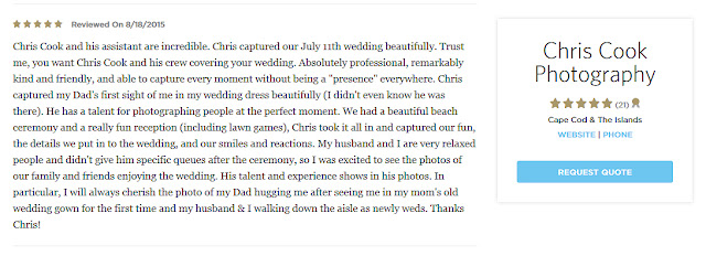 Cape Cod wedding blog photo from Chris Cook Photography about New review on the Knot!