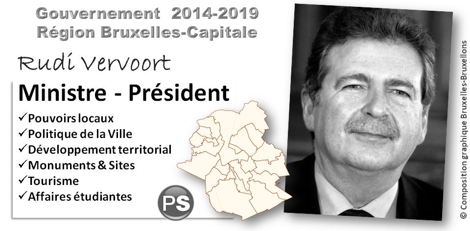 Gouvernement de la Région Bruxelles-Capitale - 2014-2019 - Rudi Vervoort (PS) Ministre-Président (Pouvoirs locaux - Politique de la Ville - Développement territorial - Monuments & Sites Tourisme - Affaires étudiantes) - Bruxelles-Bruxellons