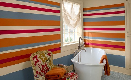 Whilst Vertical Stripes Have Been A Common Feature In Living Rooms,  Hallways, And Kitchens For Years, The Use Of Striped Bathroom Walls Has Not  Been Popular ...