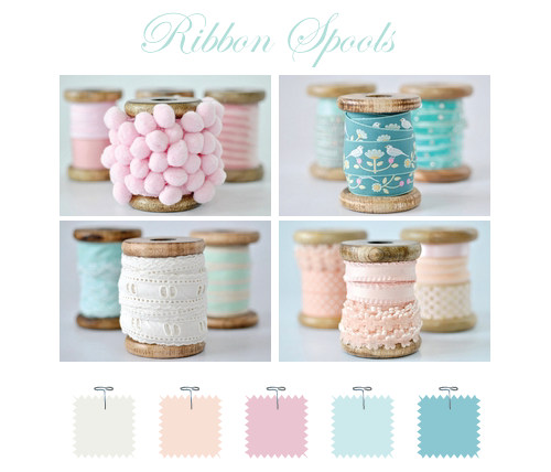 Wooden ribbon spools