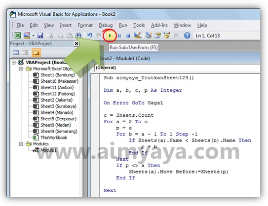 Gambar: Menjalankan kode VBA di Microsoft Visual Basic for Application