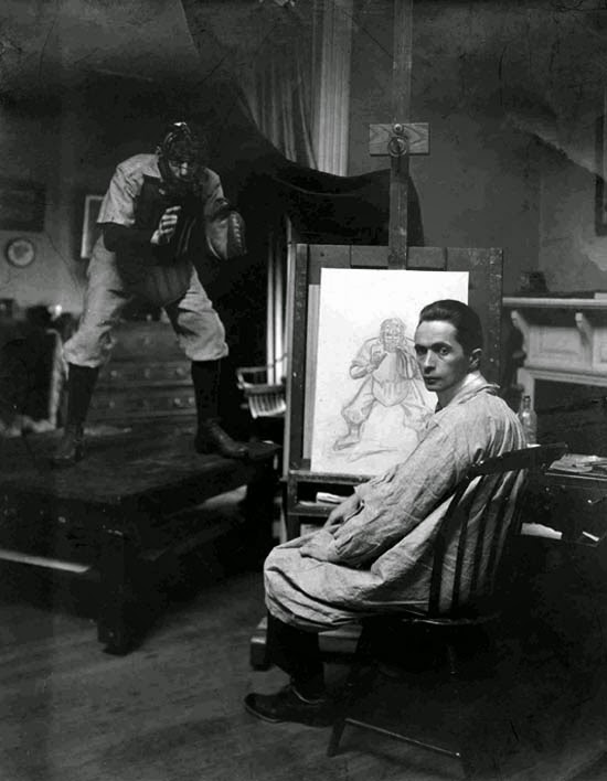 """J.C. Lyendecker at Work Doing a Study for """"Baseball Catcher,"""" Saturday Evening Post Cover, May 15, 1959"""