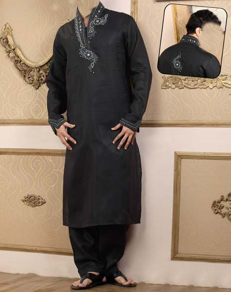 LATEST EMBROIDERED KURTA FOR MEN 2013  Fshion Clothes