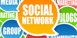 Image of a group of words that says social networks, groups, media, and blogging
