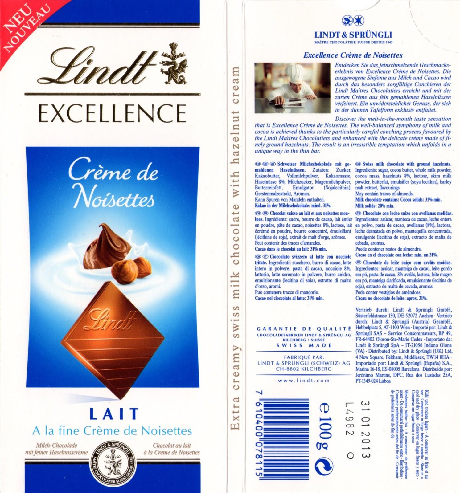 tablette de chocolat lait gourmand lindt excellence crème de noisettes