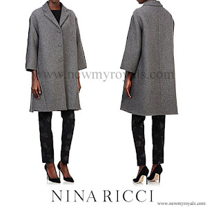 Queen Letizia Style NINA RICCI Tweed Swing Coat