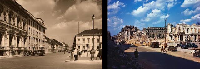 La Wilhelmstraße (littéralement : « rue Guillaume »1 d'après Frédéric-Guillaume Ier) est une rue du quartier de Mitte, dans le centre historique de Berlin qui, entre le milieu du XIXe siècle et 1945, abrita nombre d'administrations du royaume de Prusse, de l'Empire allemand, puis du Troisième Reich.  La Wilhelmstrasse en français était l'équivalent du Quai d'Orsay à Paris, puisque c'est ici que se trouvait le ministère des Affaires étrangères. La plupart des bâtiments ont été détruits pendant la bataille de Berlin de 1945, mais il reste encore une quinzaine d'immeubles de l'époque, aujourd'hui protégés. C'est ici que se trouvait le palais du prince Albert, bâtiment aujourd'hui disparu, ainsi que l'office impérial aux Colonies, lui-aussi détruit en 1945. La Wilhelmstraße en 1946  Cette rue faisait partie de Berlin-Est, à l'époque où la ville était la capitale de la république démocratique allemande2, et était l'adresse de plusieurs missions diplomatiques auprès de l'Allemagne de l'Est. Elle mesure 2,4 km de longueur et s'étend du nord au sud, commençant au Reichstagsufer (quai du Reichstag) au nord, près d'Unter den Linden qu'elle coupe, et se terminant au Hallesches Ufer (quai de Halle à Kreuzberg). Elle est coupée par la Dorotheenstraße.  Au nos 70-71, se trouve l'ambassade du Royaume-Uni3.  Sommaire      1 Illustrations     2 Notes et références     3 Voir aussi     4 Lien externe  Illustrations      Vue de la Wilhelmstraße avant 1933      Partie nord de la Wilhelmstrasse      Le Detlev-Rohwedder-Haus, siège du ministère des Finances donnant sur la Wilhelmstraße, l'autre partie donnant sur la Leipziger Straße      Façade de l'ancien cabinet civil de l'empereur, aujourd'hui partie du ministère fédéral de l'Agriculture      Façade de l'ancien ministère de la Culture de la Prusse, et l'ancien ministère de l'Éducation de la RDA, aujourd'hui partie du Bundestag      Le Palais du Président du Reich, qui n'a pas été sérieusement endommagé pendant la Seconde Guerre mondia