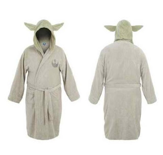Star Wars Yoda Costume Hooded Adult Light Green/Grey Bathrobe