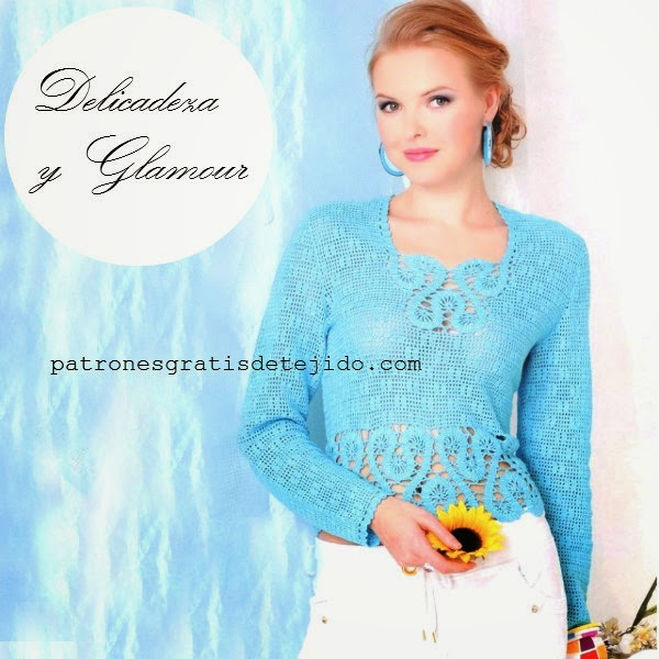 Patrones crochet de blusa de mujer con encaje de brujas