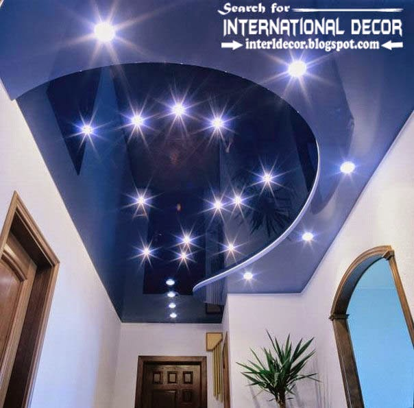stretch ceilings in the interior of modern apartment, blue stretch ceiling with lighting ideas
