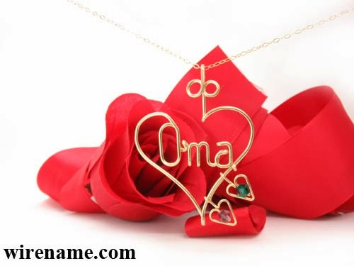 Oma gold-filled wire pendant necklace, with hearts