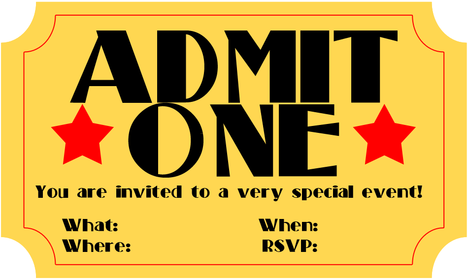 Handy image throughout free printable movie ticket invitations