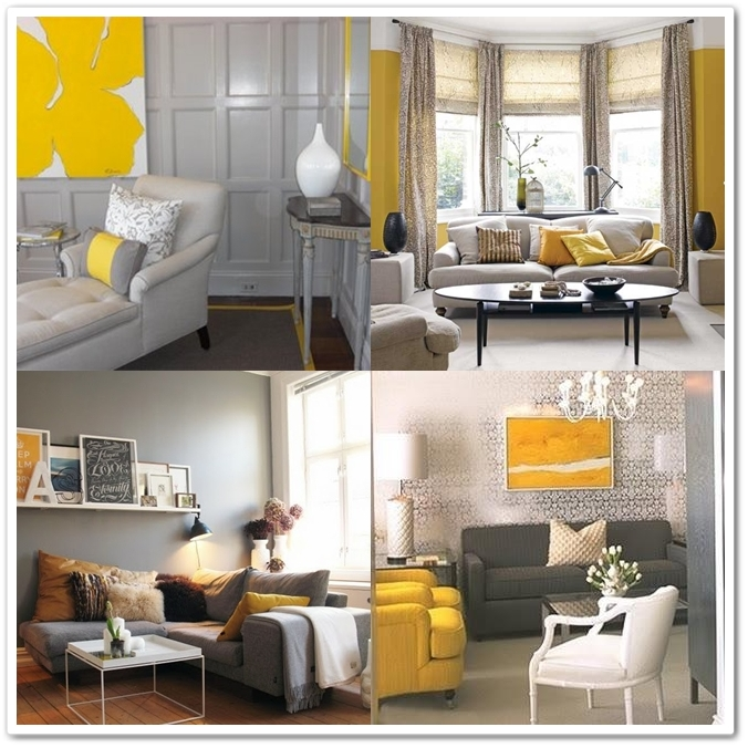 I heart home decor grey yellow for Yellow and grey living room ideas