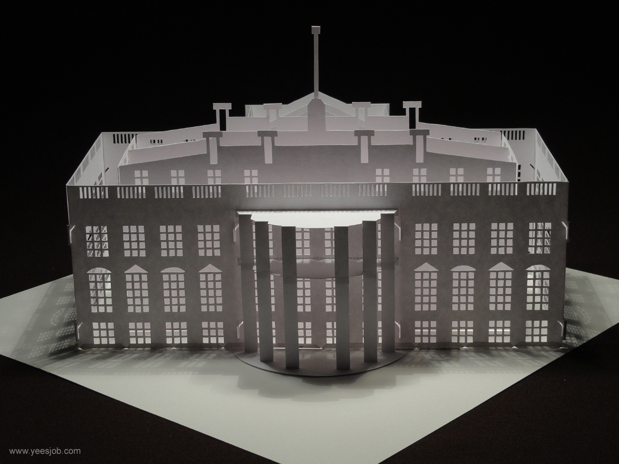 The Building Design Is Base On White House It Can Be Folded Flat And Made With Paper Entirely Dimensions 1031 Inches Or 262 Cm In Length 894