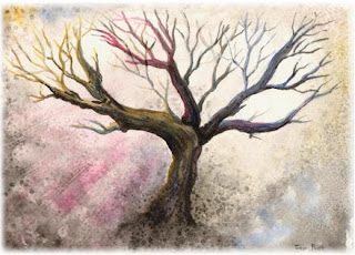 watercolor painting, landscape art, tree artworks