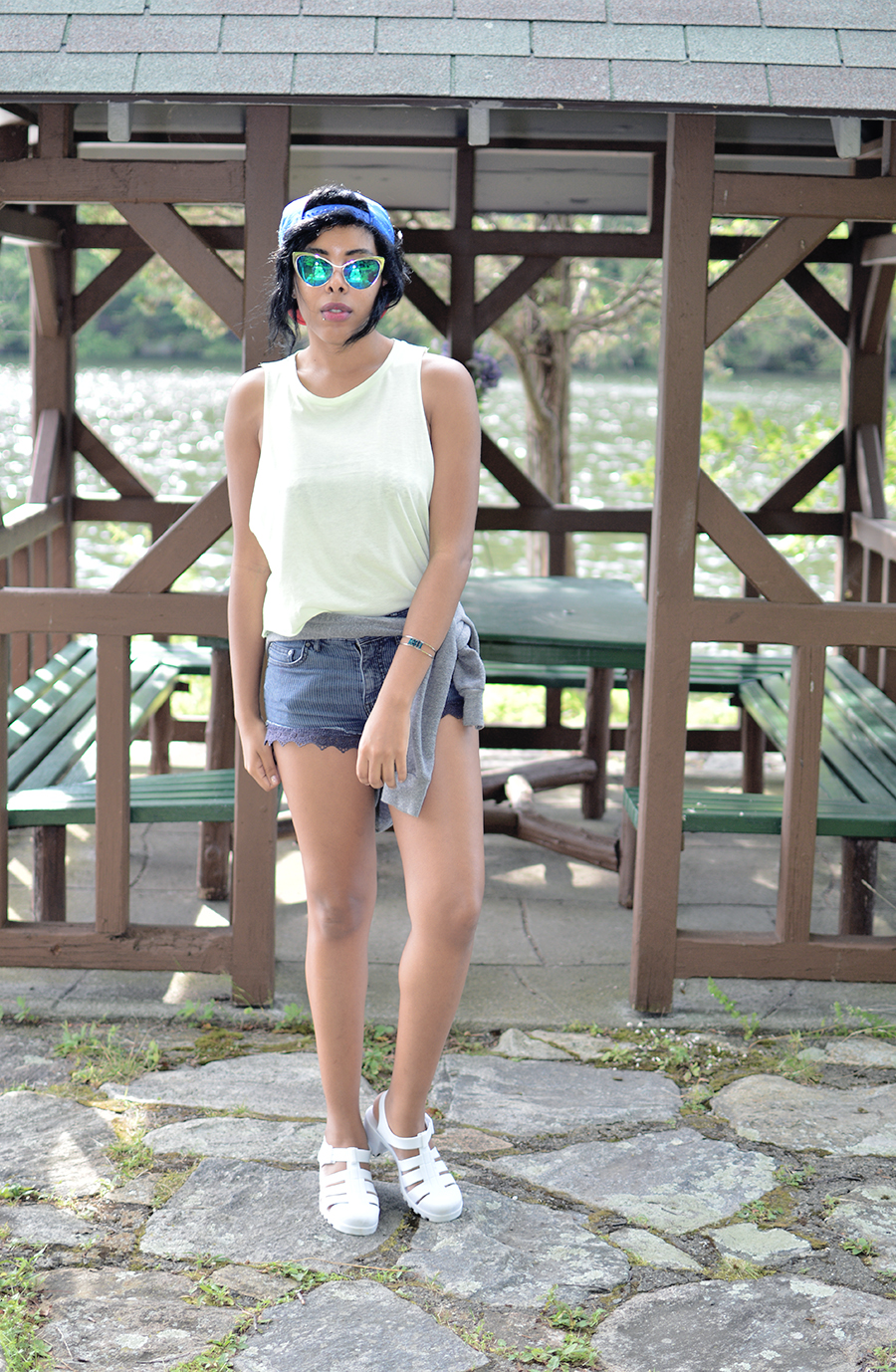indie fashion blogger anais alexandre of down to stars in her camp counselor summer camp outfit look at Lake Valhalla in Cold Spring NY