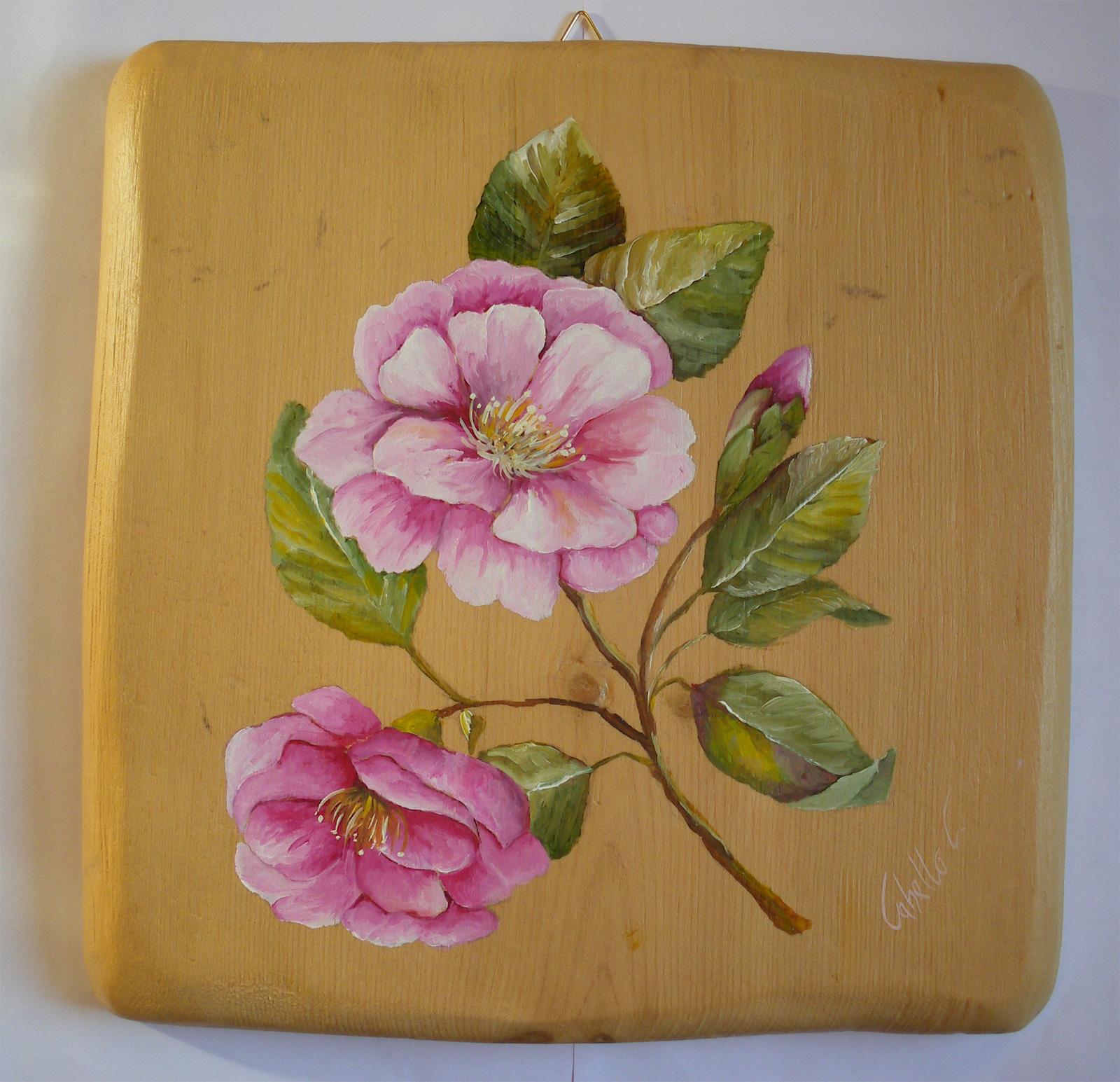 Dipinti su legno e su pietra fiori su tavole di gembro for Fiori dipinti a olio