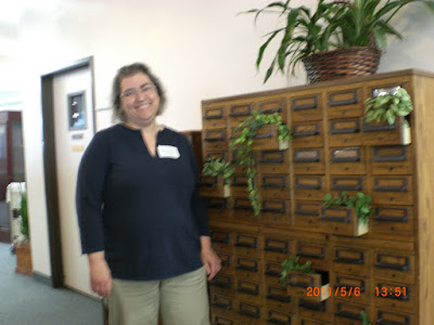 librarian and card catalog