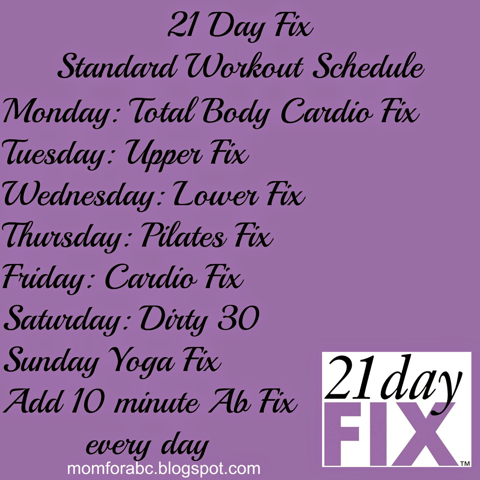 the transformation of mom 4 abcd: 21 day fix workout descriptions