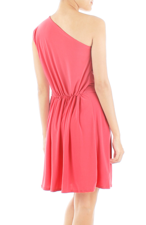 Devotion One-Shoulder Dress in Salmon Pink