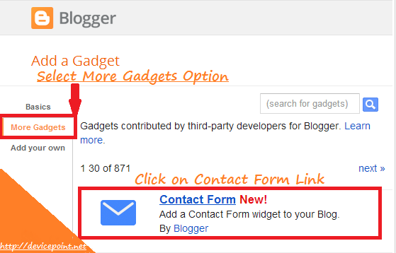 How to add Contact Form Gadget in Blogger Blog