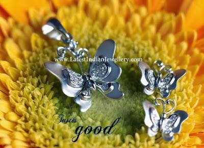 Platinum Butterfly Pendant Set