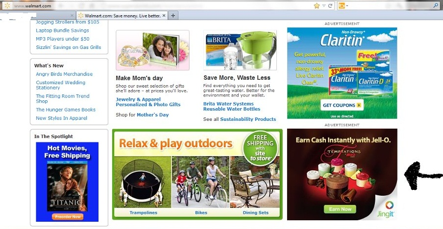JINGIT AD located on walmart site