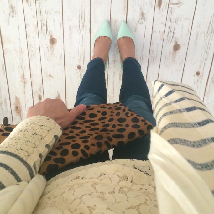 Anthropologie saige draped cardigan Banana Republic mad men lace shell Clare V leopard foldover clutch Jcrew mint pumps AG petite jeans