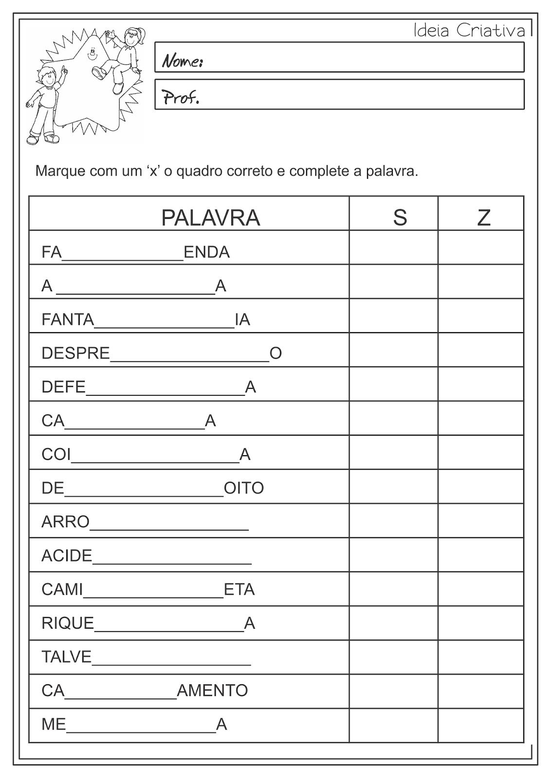 Atividades Educativas Uso de 'S' e 'Z' e Classes Gramaticais (Verbo e Adjetivo) Língua Portuguesa 2°/3° ano fundamental
