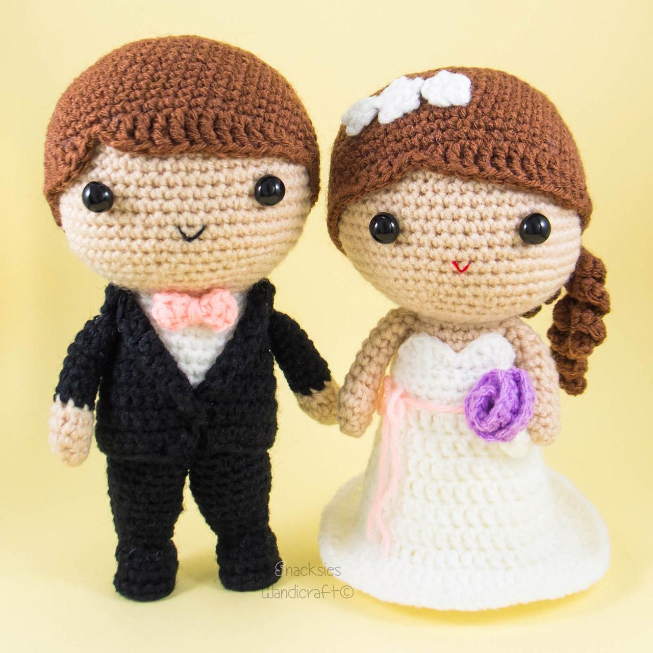 bride and groom amigurumi crochet ~ snacksies handicraft corner
