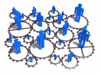 People standing in their own circle representing a network