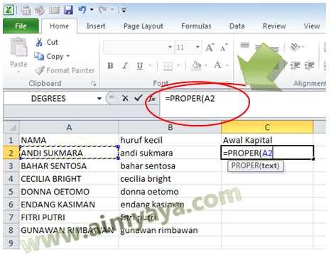 Gambar: Contoh Menggunakan Fungsi PROPER() di Microsoft Excel