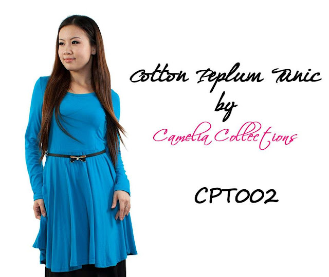 cotton peplum tunic blue