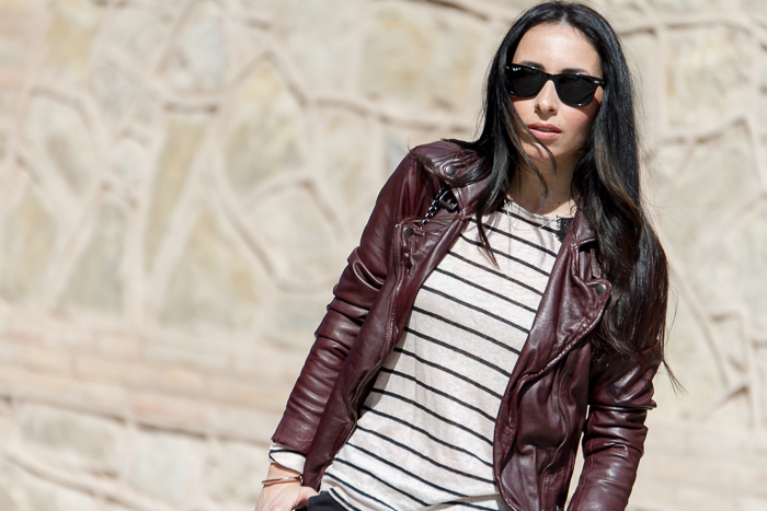Reval Leather Biker Jacket in Oxblood: MUUBAA