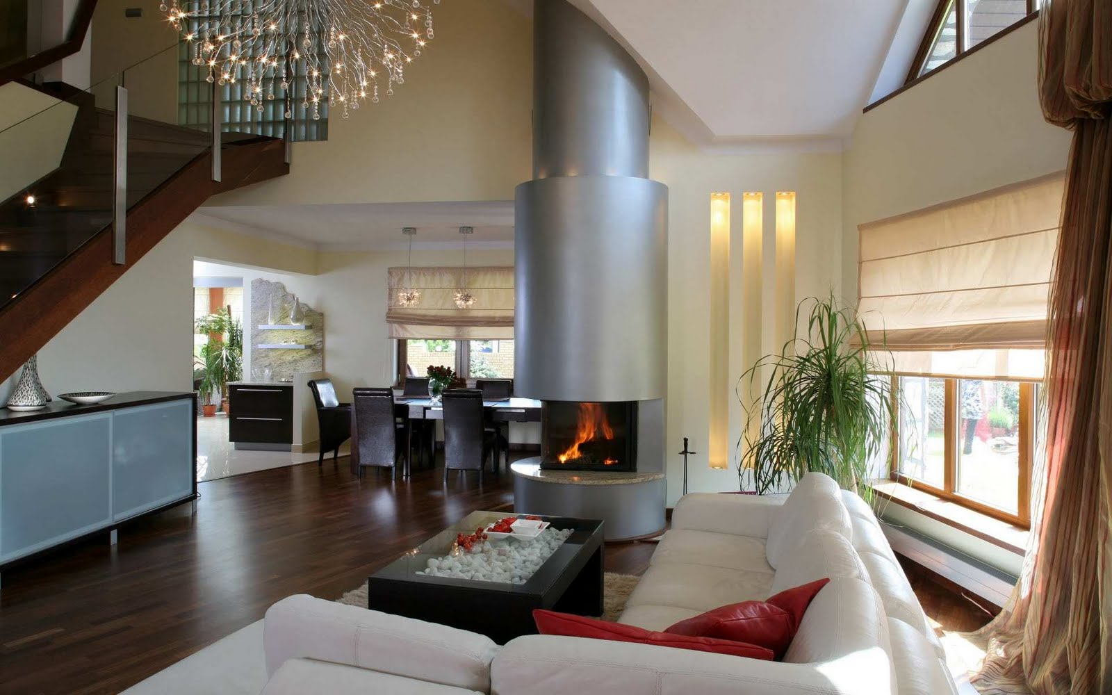 10 salas modernas con chimenea ideas para decorar for Casa namu diseno decoracion